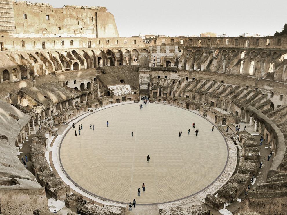 """Vista del proyecto aprobado por Italia para devolver al Coliseo de Roma su """"arena"""""""