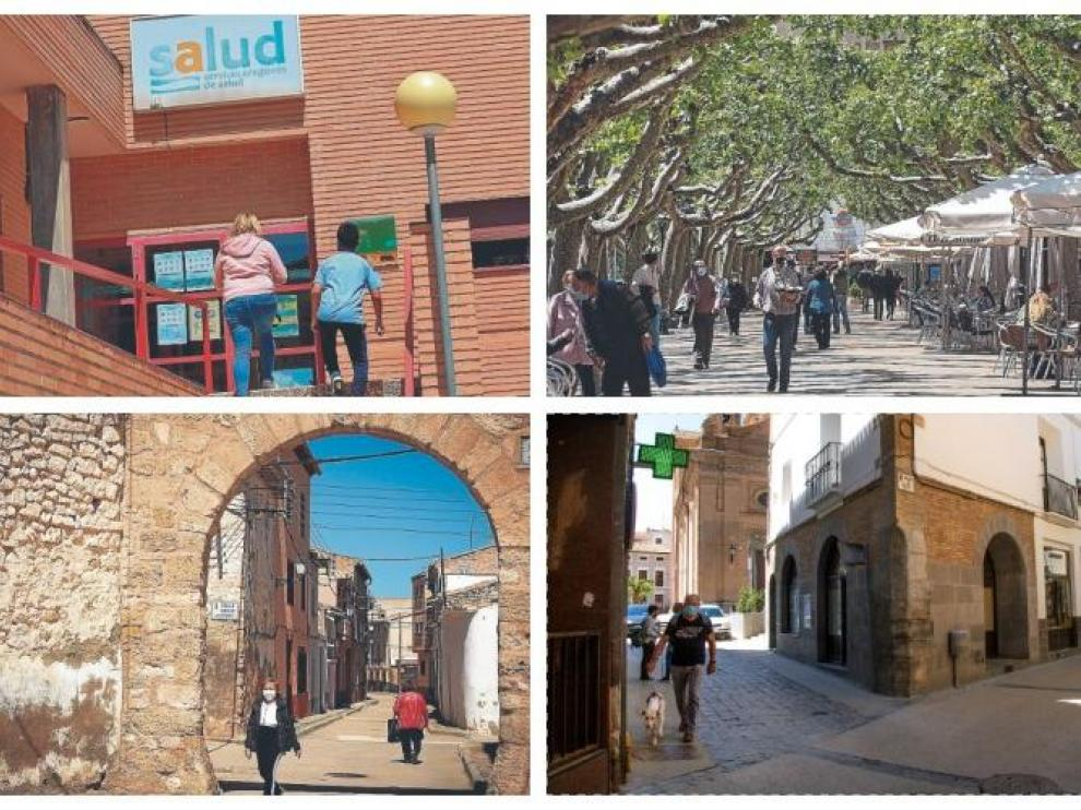 Cuatro poblaciones que hoy amanecerán confinadas. Arriba, Gallur (Ribera Alta del Ebro) y Calatayud. Abajo, Longares (Campo de Cariñena) y La Almunia (Valdejalón)