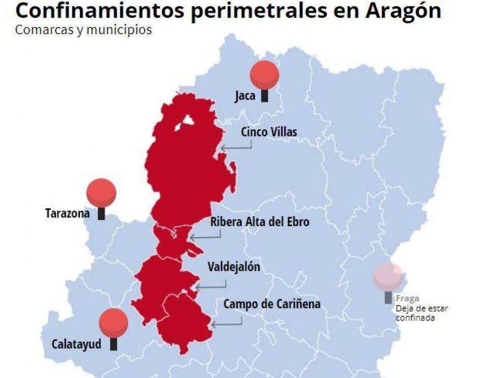Gráfico de zonas de Aragón confinadas