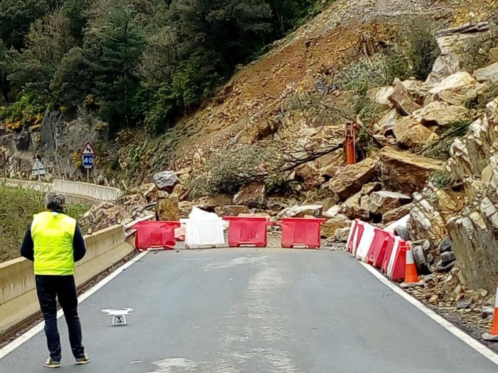 Zona cortada por el desprendimiento ocurrido el 20 de abril.