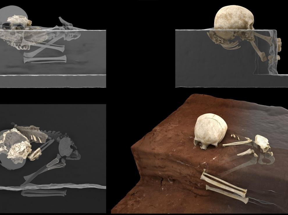Reconstrucción virtual de los restos en la cavidad (i) y reconstrucción ideal de la posición original del niño en el momento del hallazgo (d).