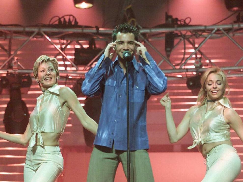 David Civera durante uno de los ensayos de su actuación en 2001.