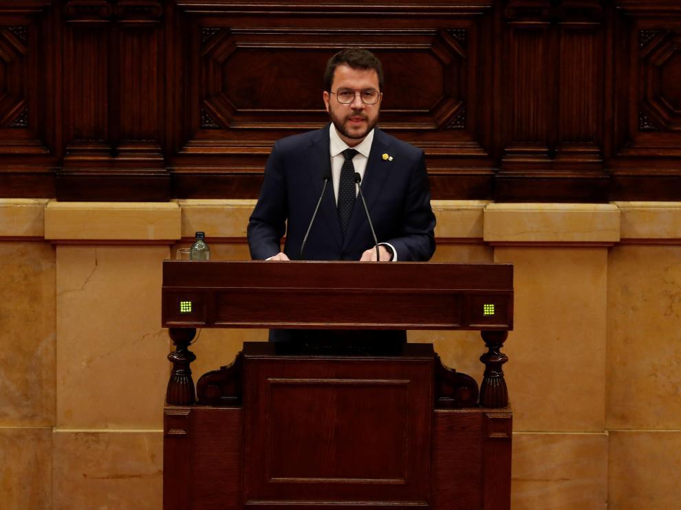 El candidato de ERC a la presidencia de la Generalitat, Pere Aragonès, interviene en la primera jornada del debate de su investidura
