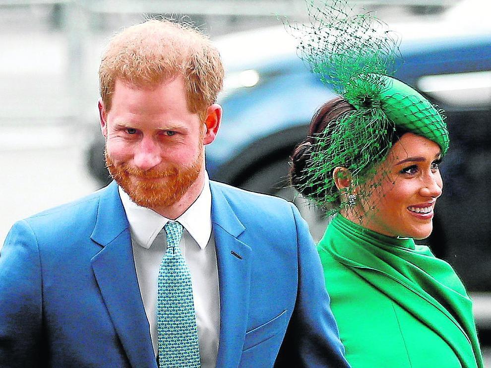 El Principe Enrique y Meghan Markle, en Londres, en marzo de 2020.