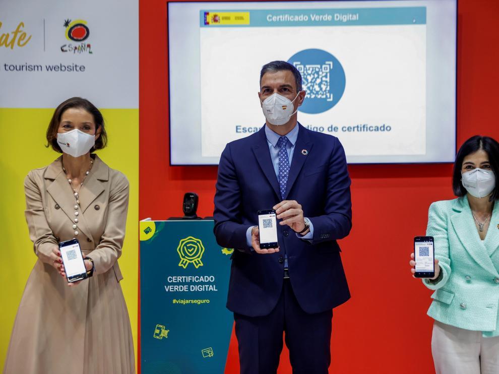Presentación del certificado verde digital en Fitur