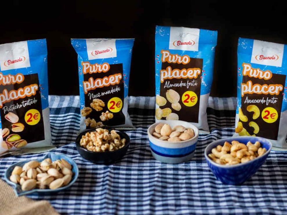 La gama Buenola Puro Placer ofrece pistachos, nueces, almendras y anacardos, entre otros frutos secos.