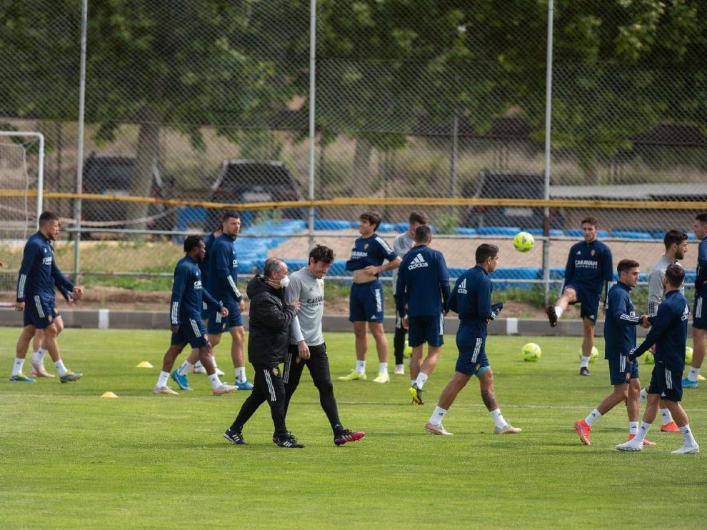 Imagen de uno de los últimos entrenamientos del Real Zaragoza esta semana, la del fin de temporada.