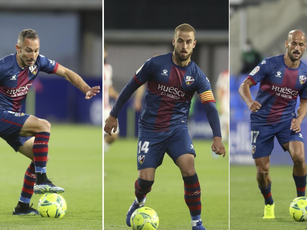 Ferreiro, Pulido y Mikel Rico, los capitanes de la SD Huesca.