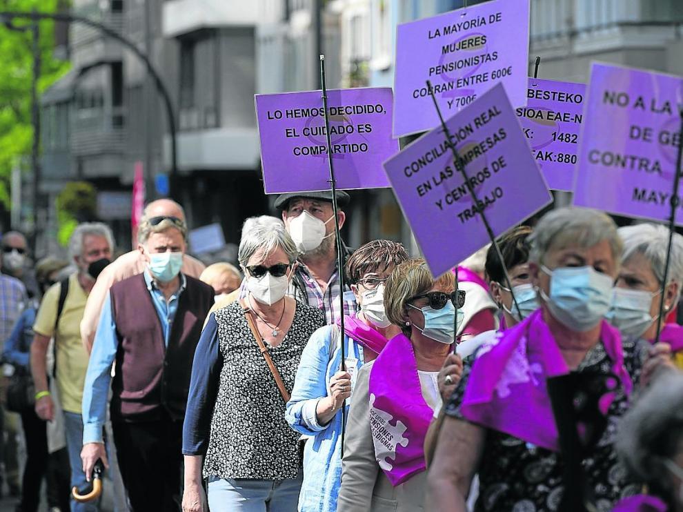 Manifestación a favor de las pensiones dignas el pasado sábado en Vitoria