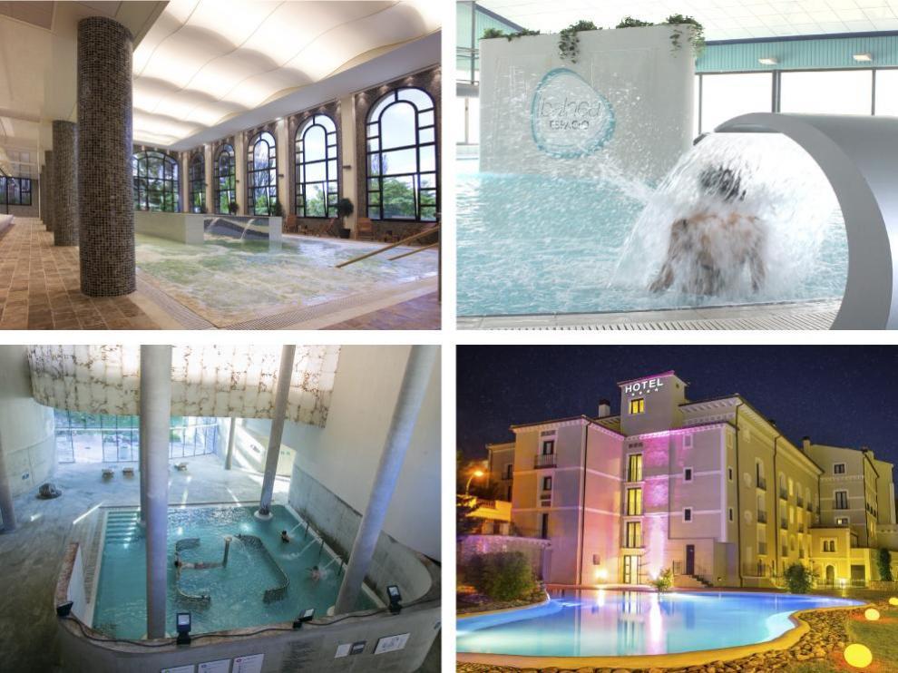 Arriba, a la izquierda, el balneario de Paracuellos del Jiloca. A la derecha, las instalaciones del balneario de Ariño. Abajo, a la izquierda, el balneario de Panticosa. A la derecha, el de Alhama de Aragón.