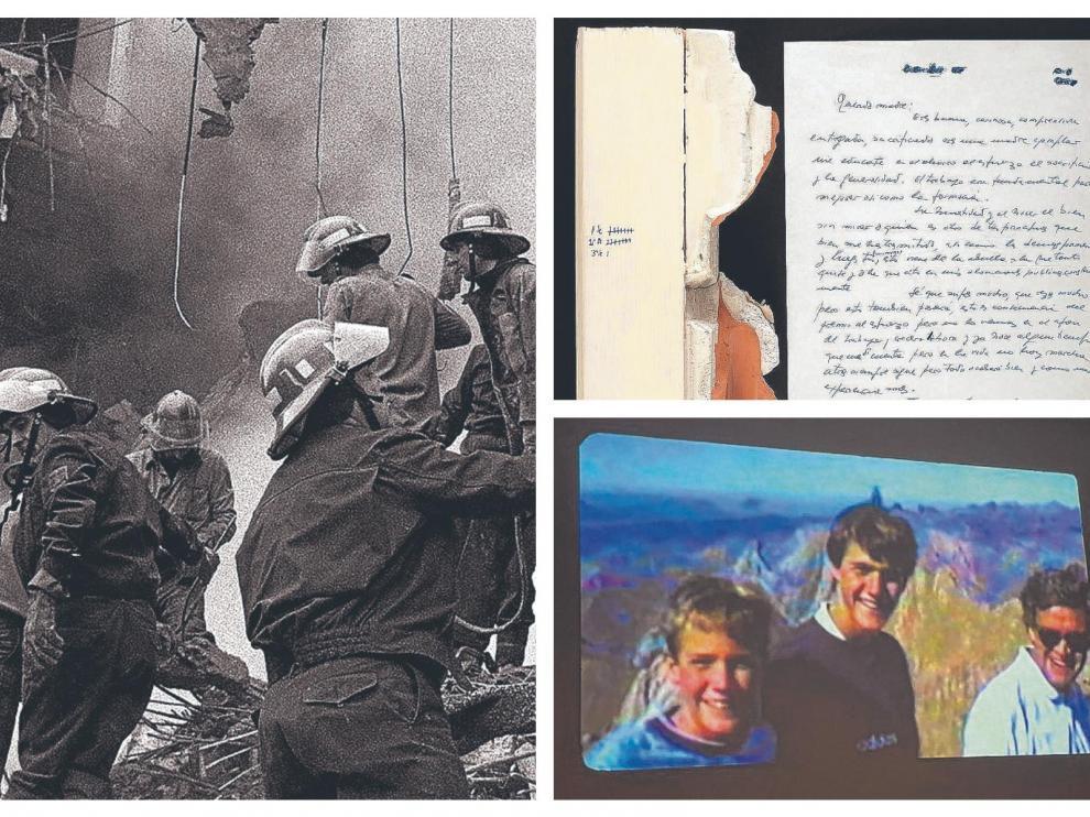 Combo de fotos de la casa cuartel de Zaragoza en 1987, la carta de Cordón que mandó a su madre en el secuestro y de un vídeo de Giménez Abad con sus hijos en el Pirineo