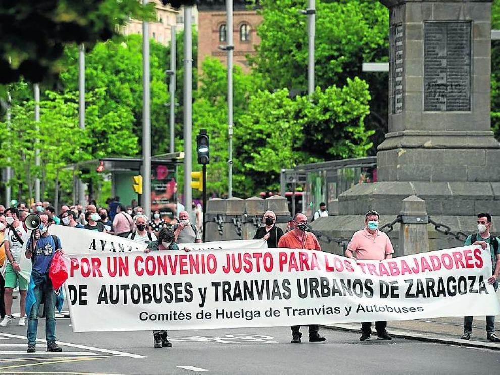 Manifestación conjunta del bus y el tranvía, el jueves