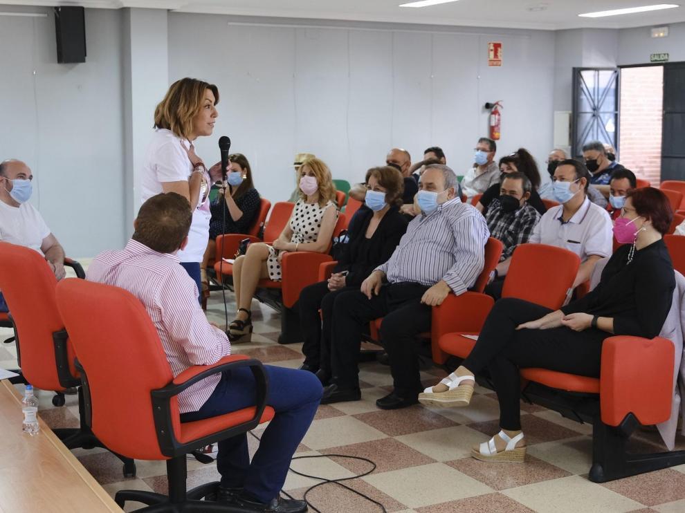 Susana Díaz, este domingo en un acto con militantes del PSOE.