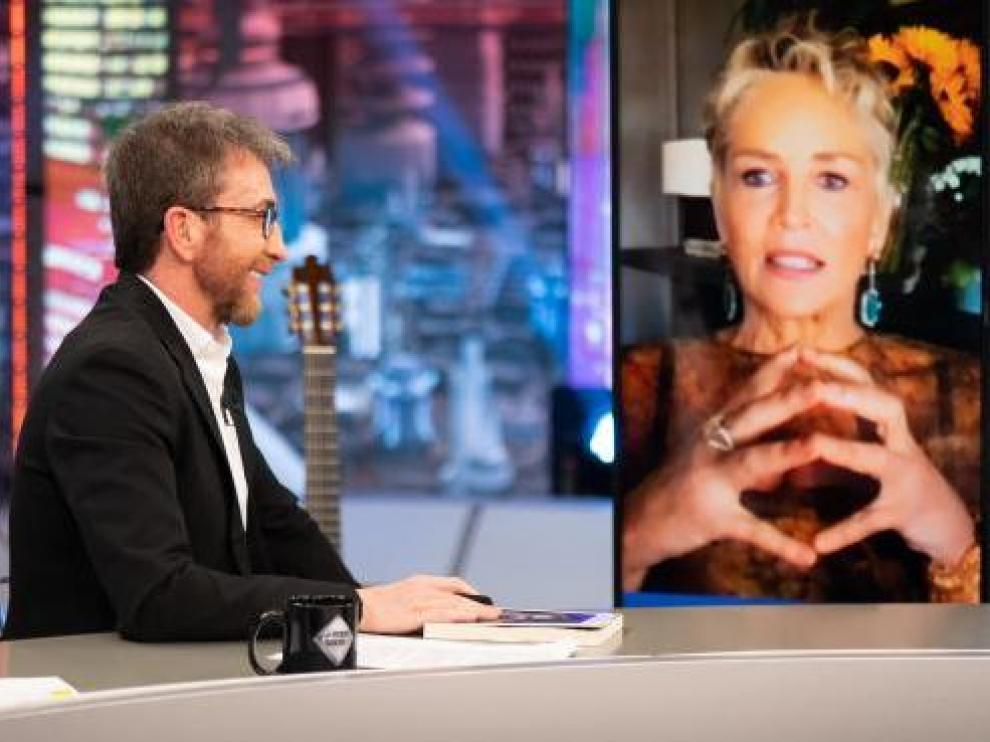 La actriz estadounidense Sharon Stone fue entrevistada este lunes en 'El Hormiguero'