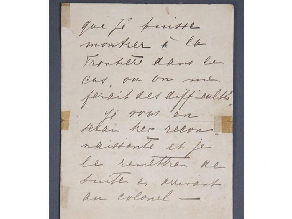 Fragmento de la carta manuscrita de Mata Hari que se subasta este mes.