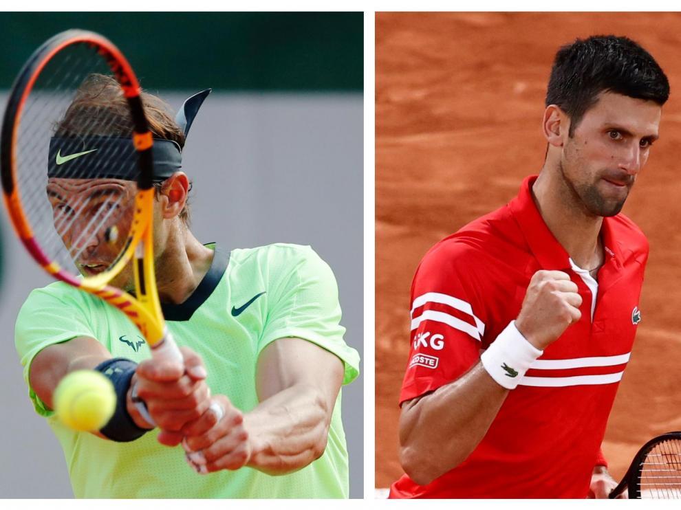 Combo de imágenes de Rafa Nadal y Novak Djokovic