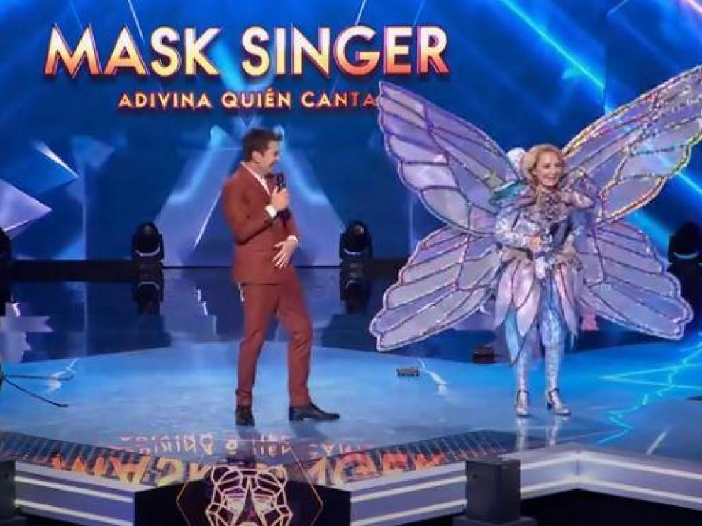 Esperanza Aguirre vestida de mariposa en 'Mask Singer'.