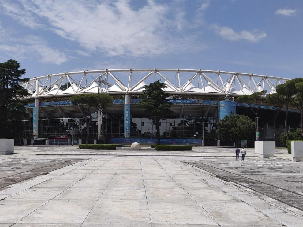 Vista del estadio Olímpico de Roma, preparado para albergar el Italia-Turquía de la Eurocopa.