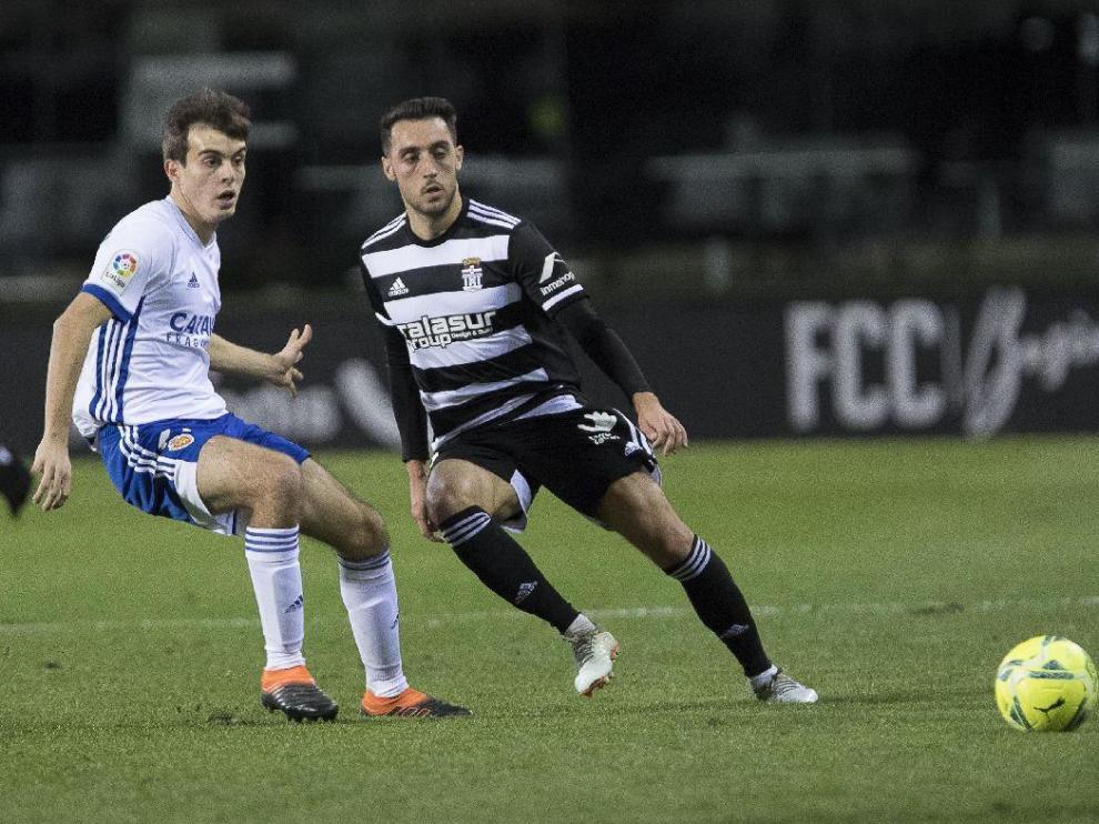 Aguza, con Francho, en el Cartagena-Real Zaragoza disputado el pasado mes de enero en Cartagonova (1-1).