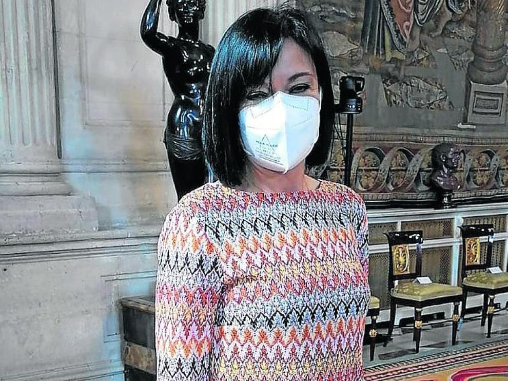 Cristina Crespo, este viernes, antes de recibir la condecoración.