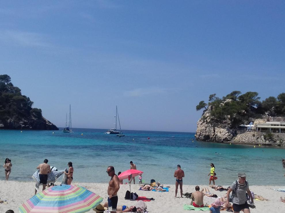 Cala Galdana en la isla balear de Menorca.