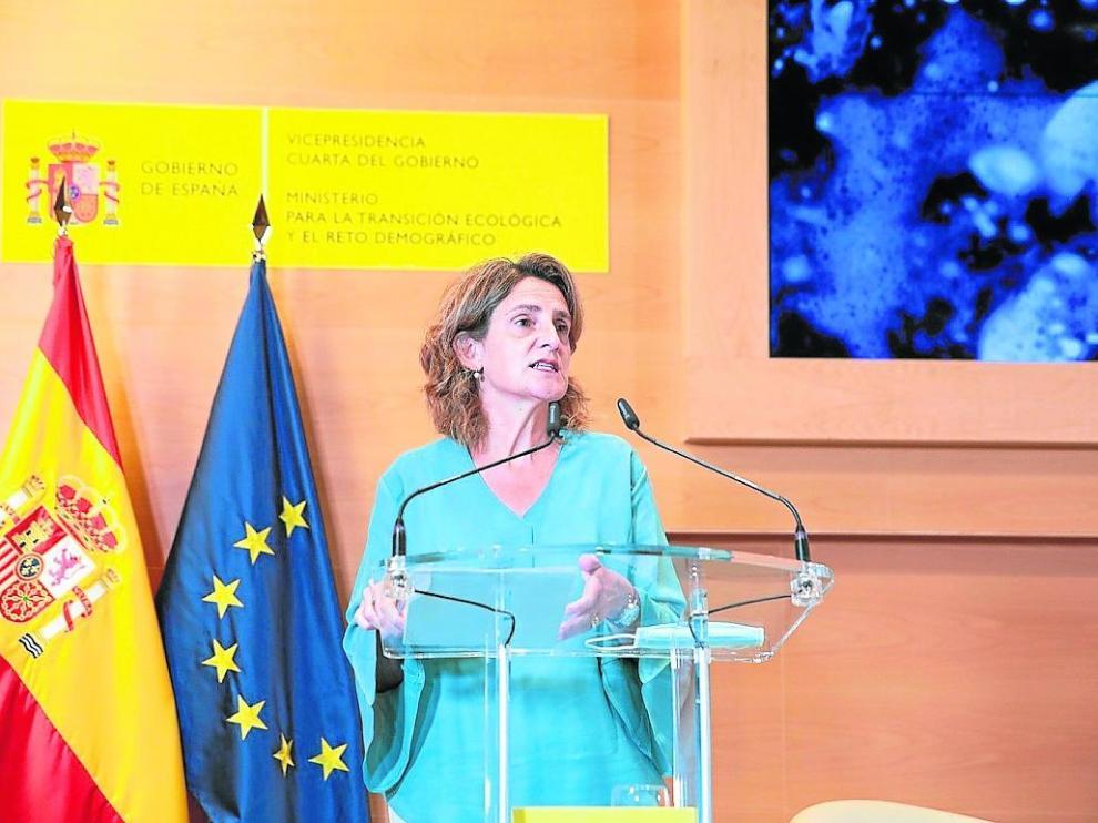 La vicepresidenta y ministra de Transición Ecológica, Teresa Ribera, este lunes, durante la presentación.