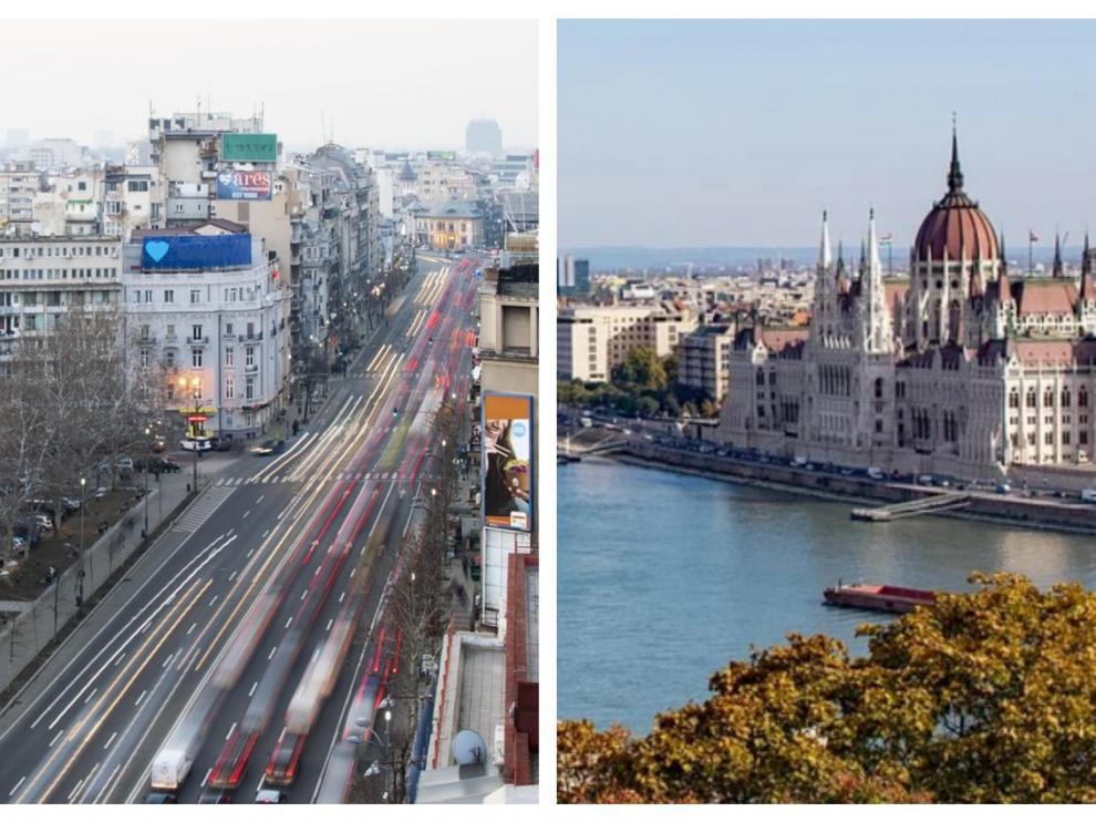 Combo de imágenes de Bucarest y Budapest