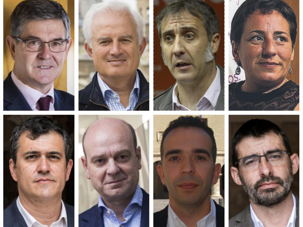De izquierda a derecha, y de arriba a abajo: Vicente Guillén (PSOE), Eloy Suárez (PP), Ramiro Domínguez (Cs), Marta de Santos (Podemos), Joaquín Palacín (CHA), Santiago Morón (Vox), Jesús Guerrero (PAR) y Álvaro Sanz (IU).