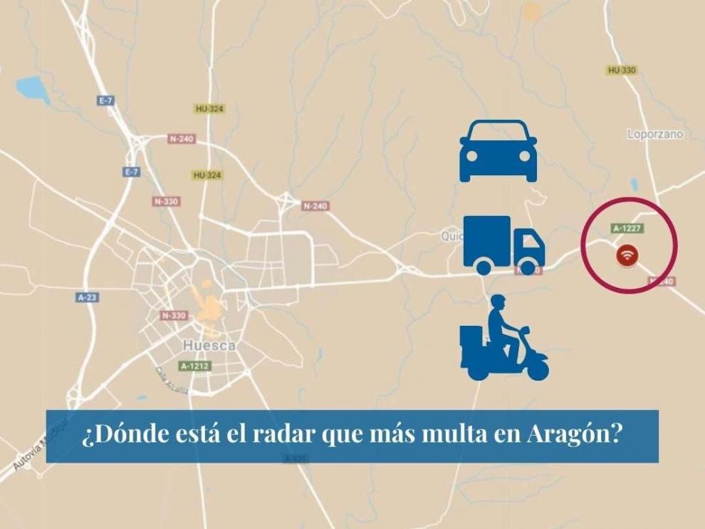 Mapa con el radar de Huesca que más multa en Aragón.