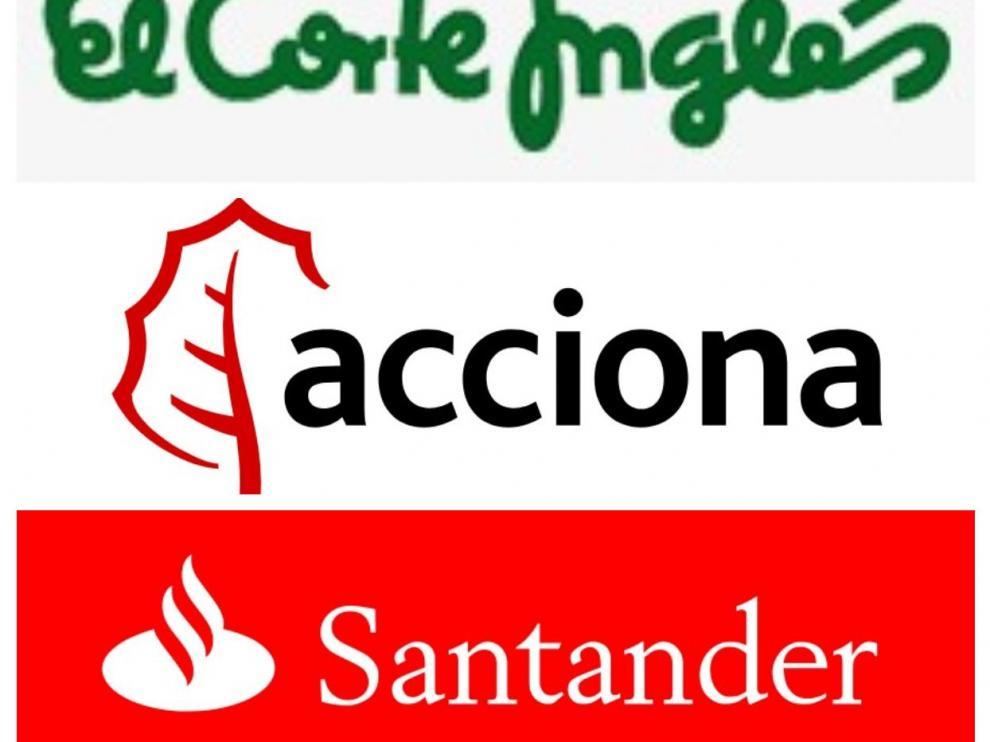 Logos de El Corte Inglés, Acciona y Banco Santander