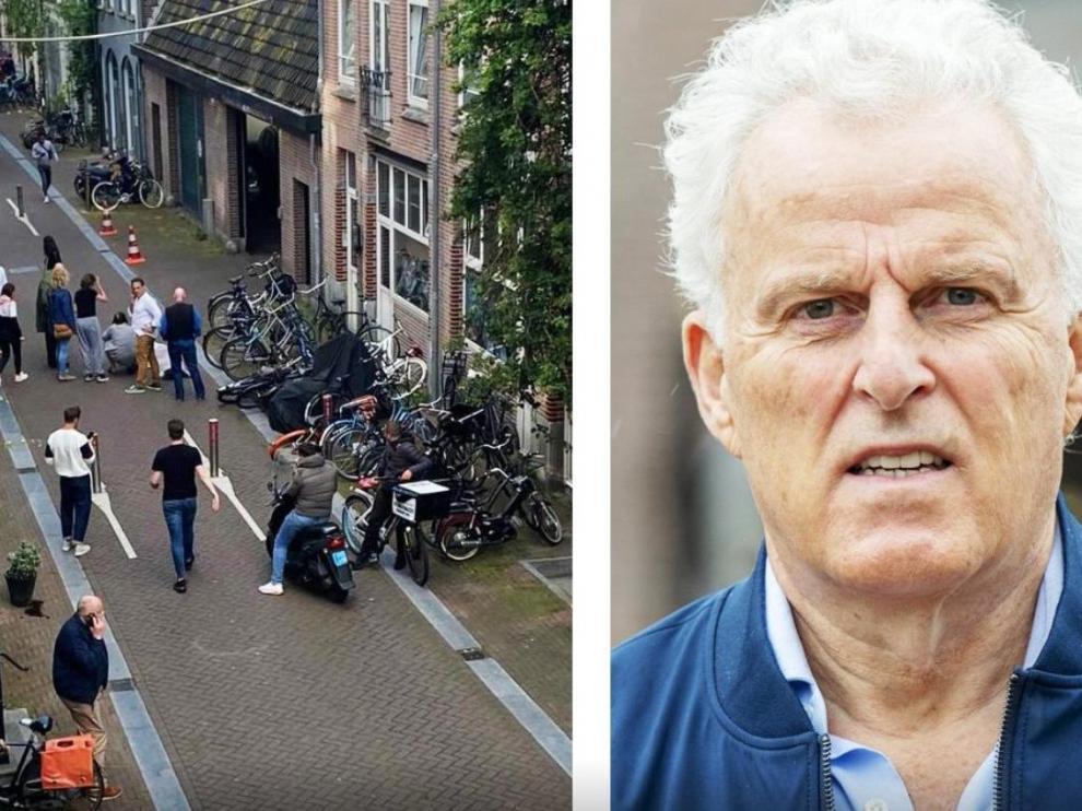 Peter R. de Vries, a la derecha. A la izquierda, el periodista, en el suelo tras ser tiroteado.