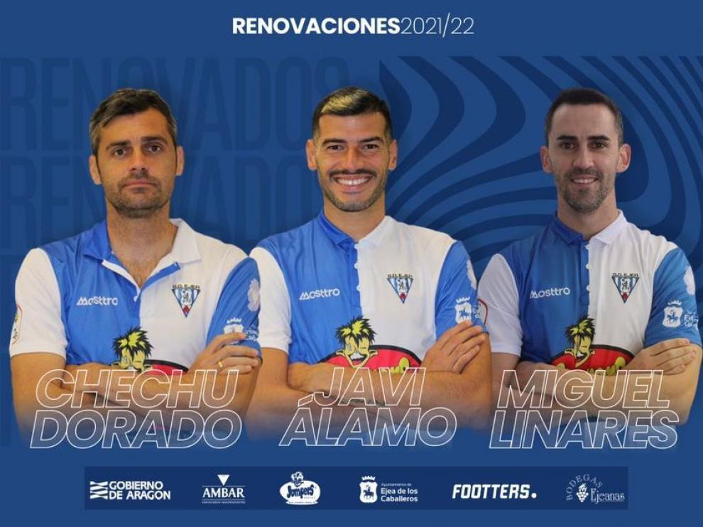 Javi Álamo, Miguel Linares y Chechu Dorado seguirán en la SD Ejea.