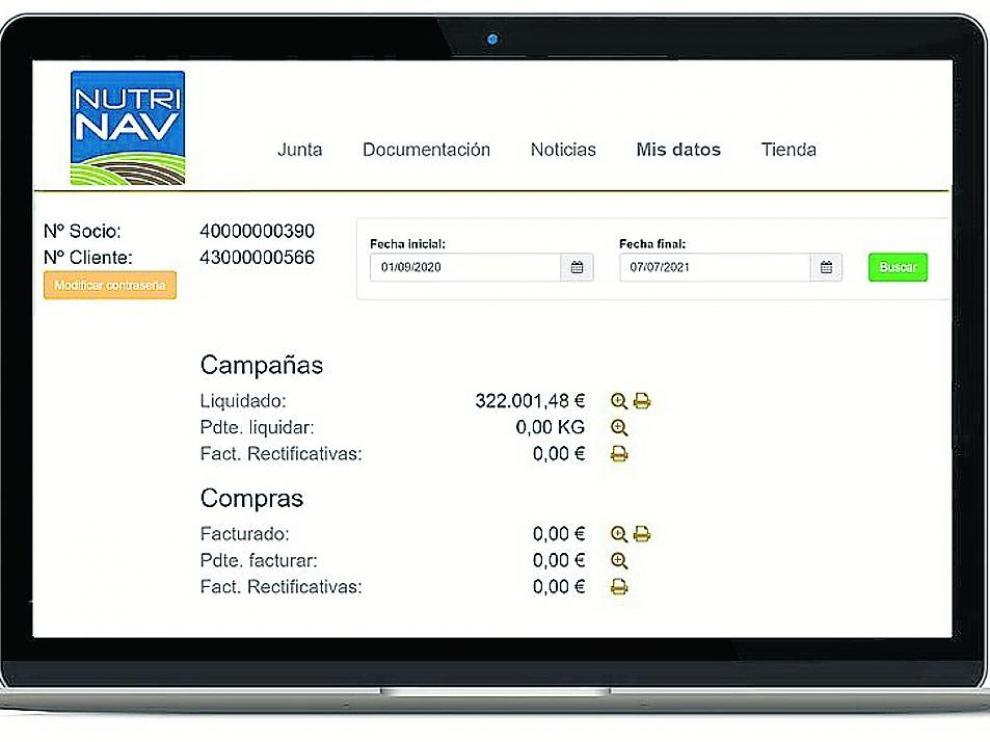 Liquidación de agricultores del modulo de gestión de cooperativas del 'software'.