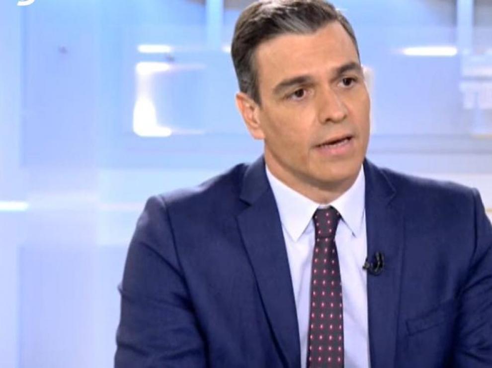 Pedro Sánchez, durante su entrevista en Telecinco