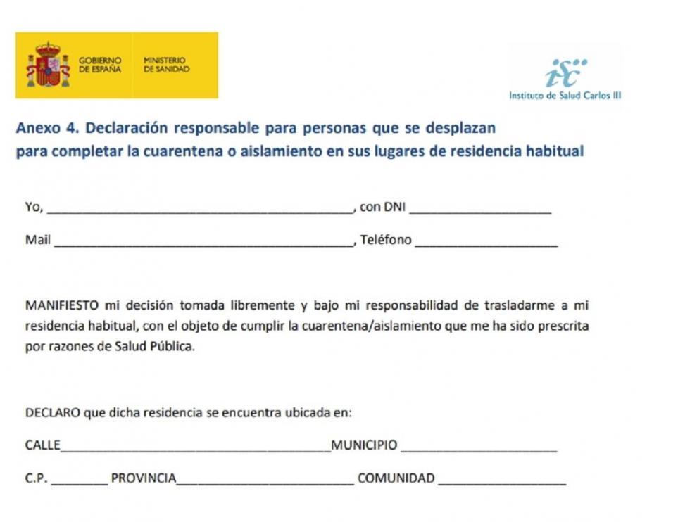 Declaración responsable para personas que se desplacen para completar la cuarentena en lugares de residencia habitual.