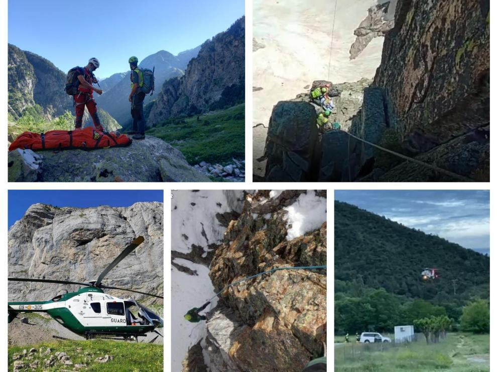 Combo de imágenes de varios rescates en el Pirineo