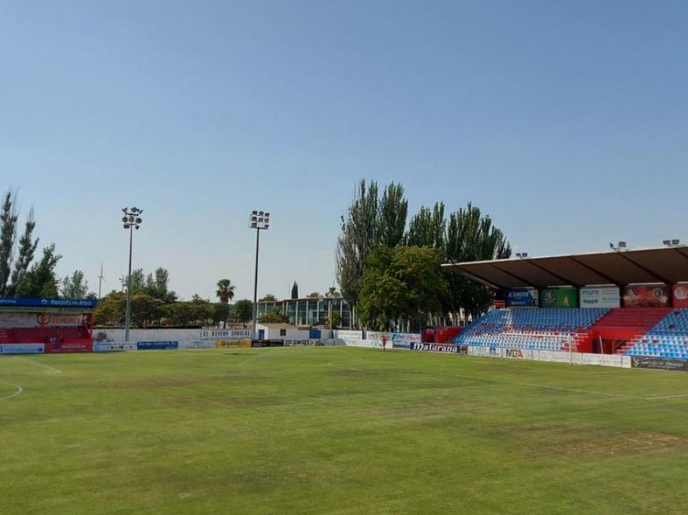 Campo de La Planilla de Calahorra (La Rioja), donde el Real Zaragoza juega este martes su primer amistoso de pretemporada.