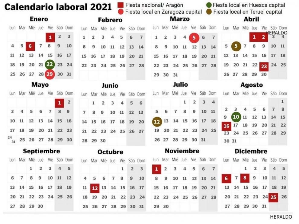 Calendario laboral 2021 en Aragón