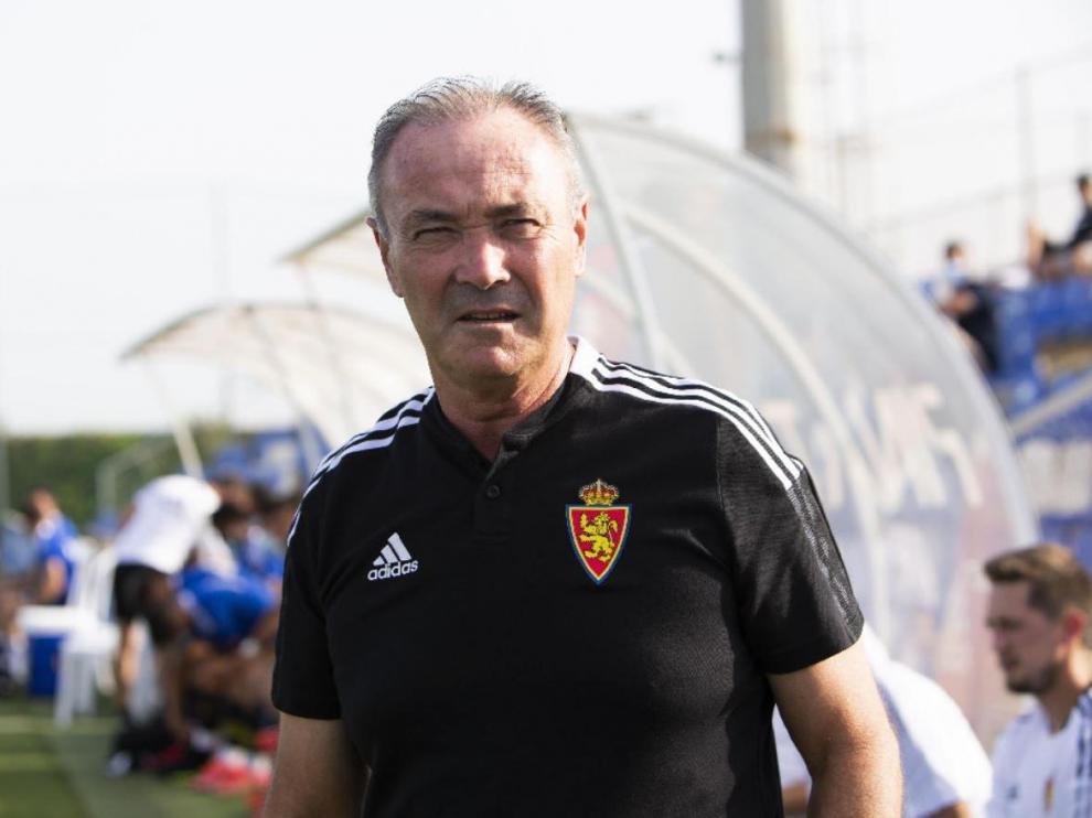 Juan Ignacio Martínez 'Jim', esta tarde de viernes en el Pinatar Arena de Murcia antes de comenzar el partido Atromitos Atenas-Real Zaragoza.