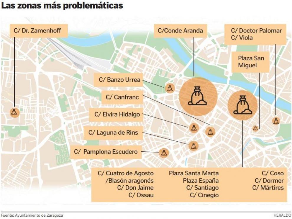 Puntos negros detectados por el Ayuntamiento de Zaragoza