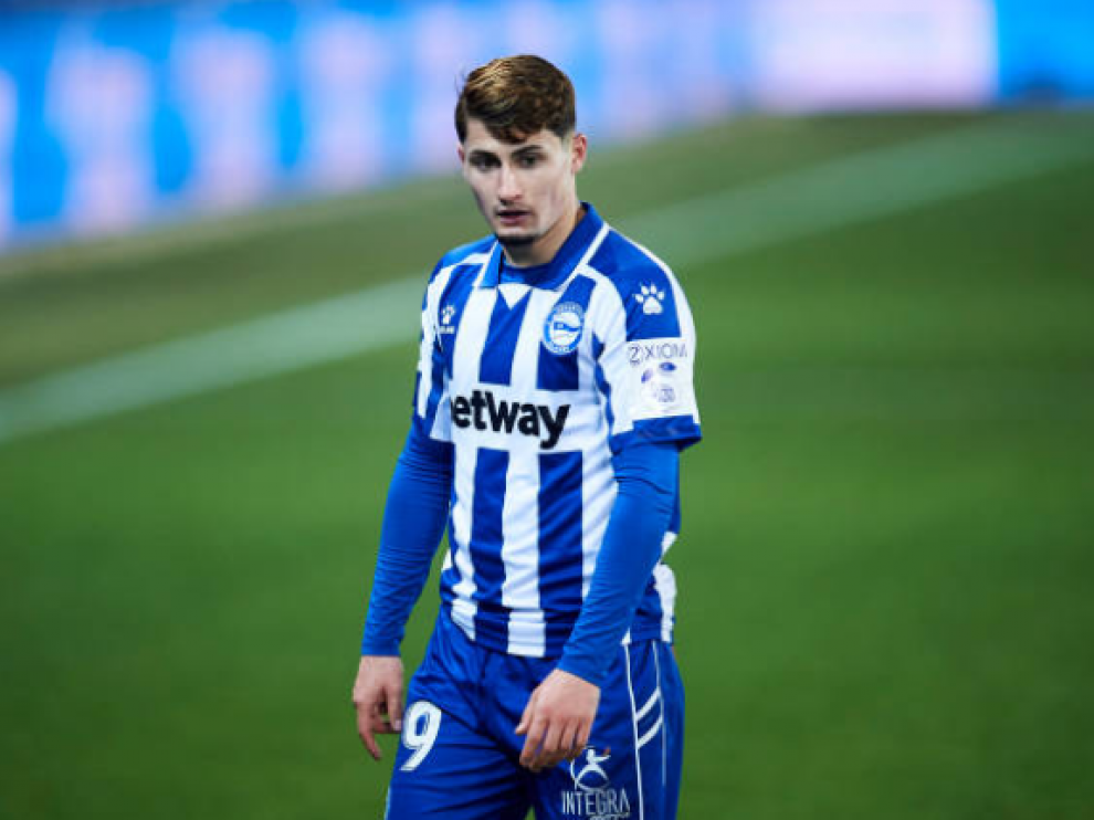 Borja Sainz, en un partido con el Deportivo Alavés la temporada pasada.