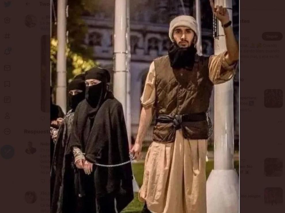 La imagen que circula por redes y corresponde a una representación durante una protesta en Londres.