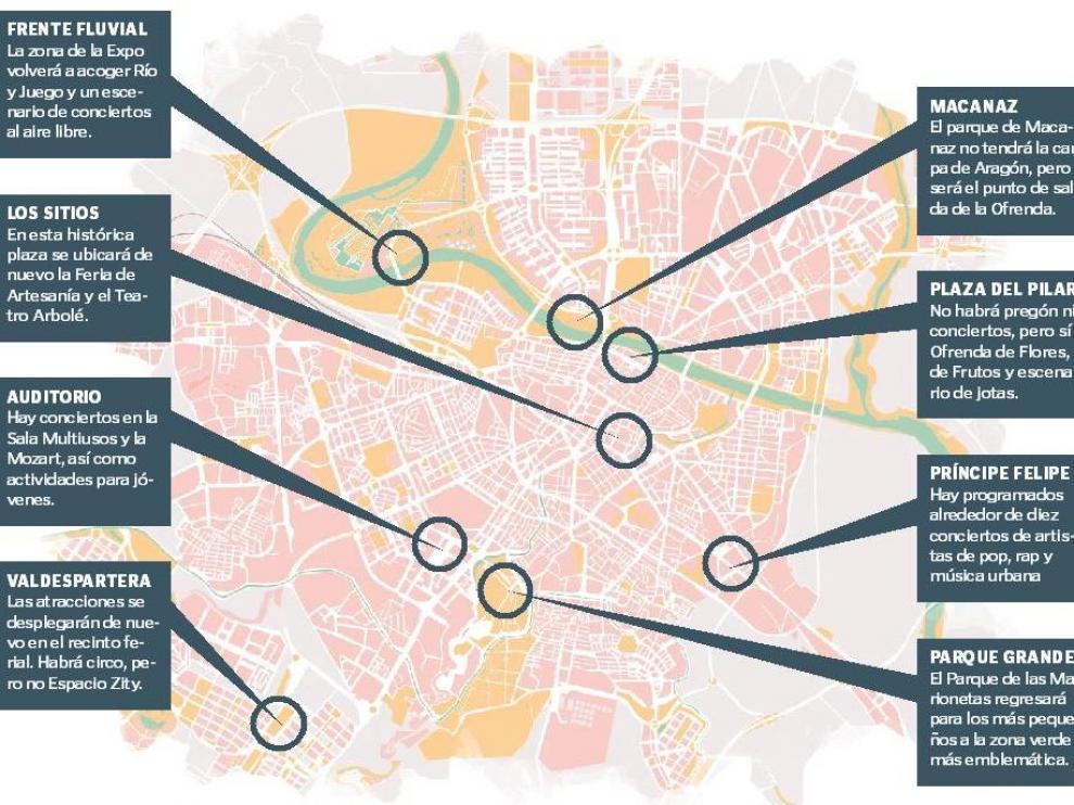 Mapa de las 'no fiestas' en Zaragoza