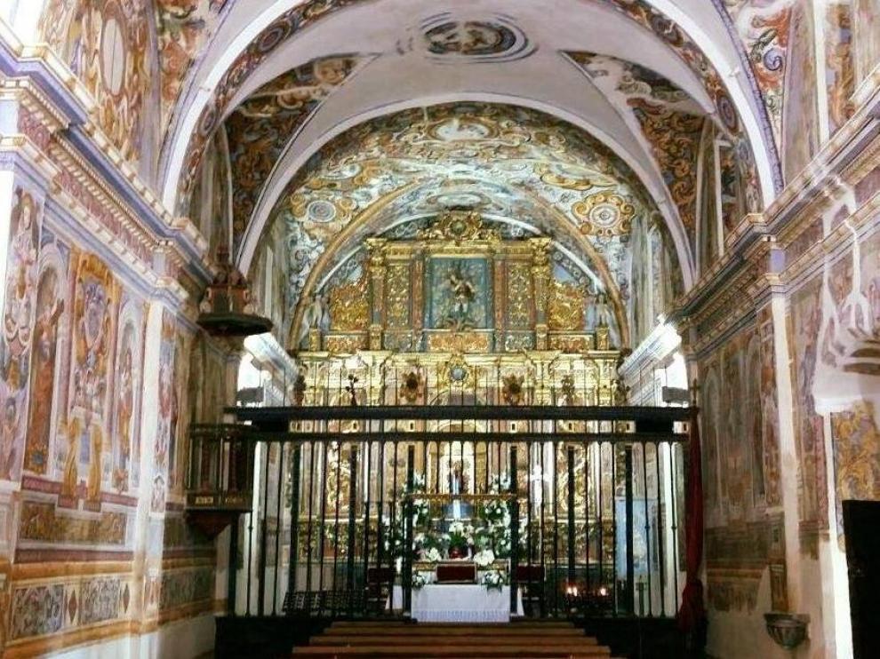 Interior del santuario de la Virgen de Casbas de Ayerbe, conocido como la 'Capilla Sixtina' del Alto Aragón por sus valiosas pinturas murales del siglo XVII.