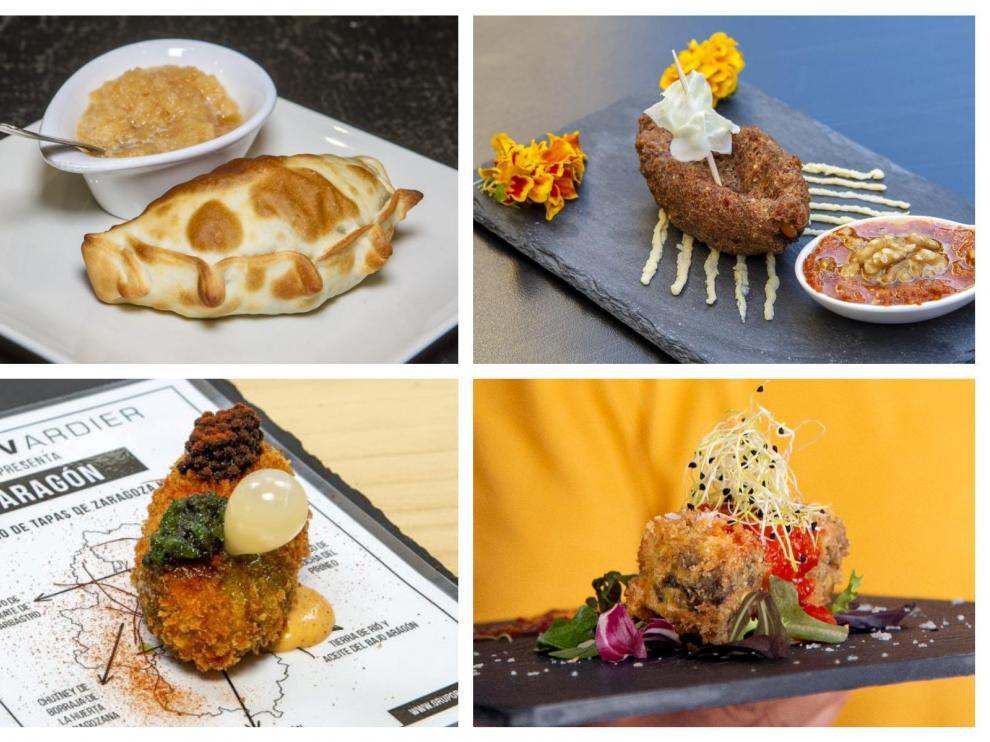 Arriba, a la izquierda, empanada de Alma Criolla; a la derecha, tapa restaurante Buenacara. Debajo, tapa del Gratal de Ejea (izqda) y lingote de La Maldita
