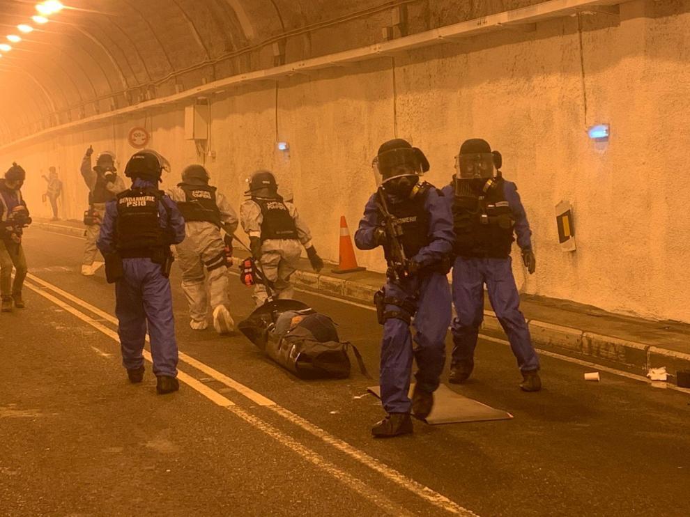 Simulacro de ataque terrorista realizado en el túnel de Bielsa por cuerpos de seguridad y emergencias de España y Francia.
