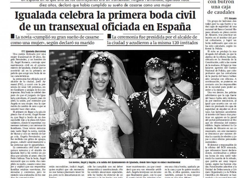 Así recogió HERALDO la noticia del enlace matrimonial en su edición del 10 de septiembre de 2001