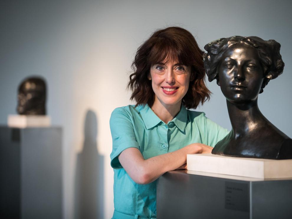 Irene Vallejo, fotografiada en el Museo Pablo Gargallo de Zaragoza.