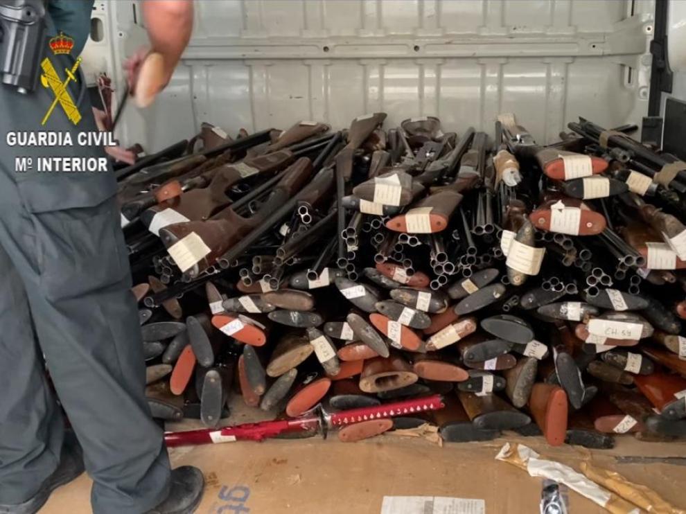Armas destruidas por la Guardia Civil de Huesca.
