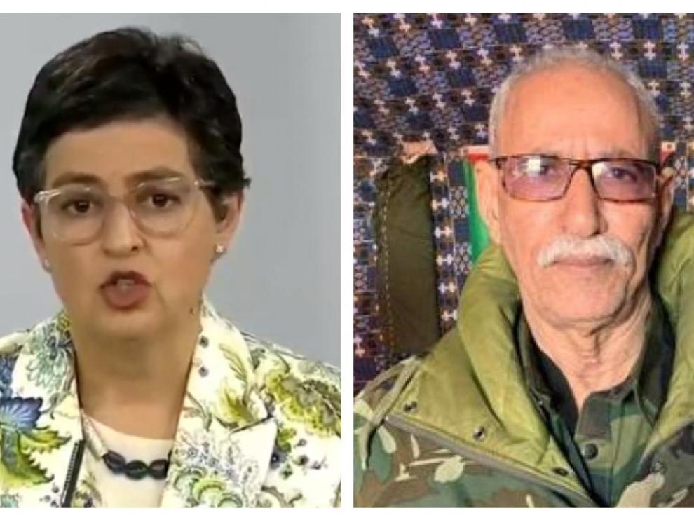 La exiministra González Laya y el líder del Frente Polisario, Brahim Gali.